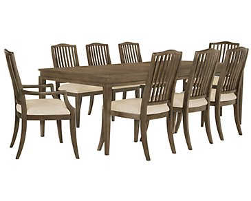 Preston Gray Rectangular Table & 4 Wood Chairs