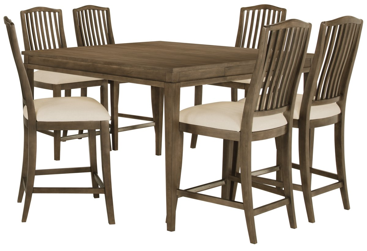 Preston Gray Wood High Table & 4 Barstools