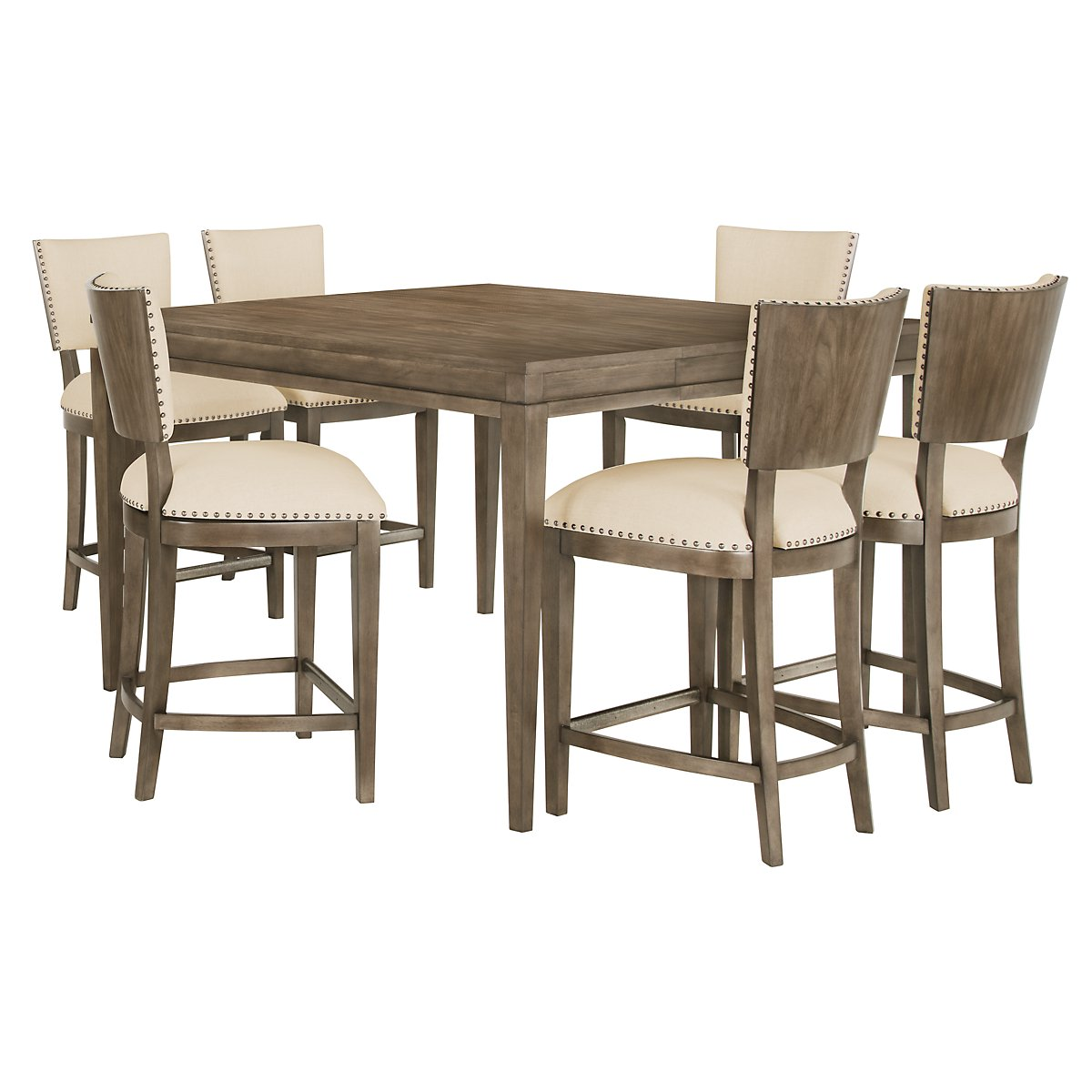 Preston Gray Wood High Table & 4 Upholstered Barstools