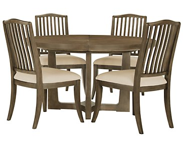 Preston Gray Round Table & 4 Wood Chairs