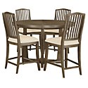 Preston Gray Wood High Table & 4 Wood Barstools