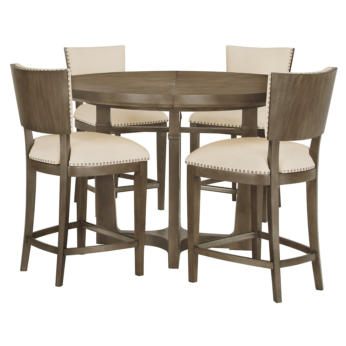 Preston Gray Round High Table & 4 Upholstered Barstools
