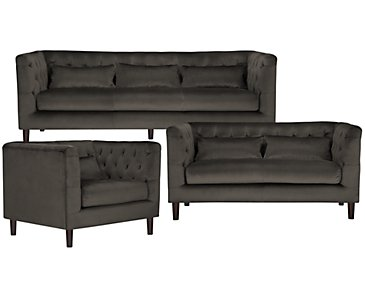 Robin Dark Gray Microfiber Living Room
