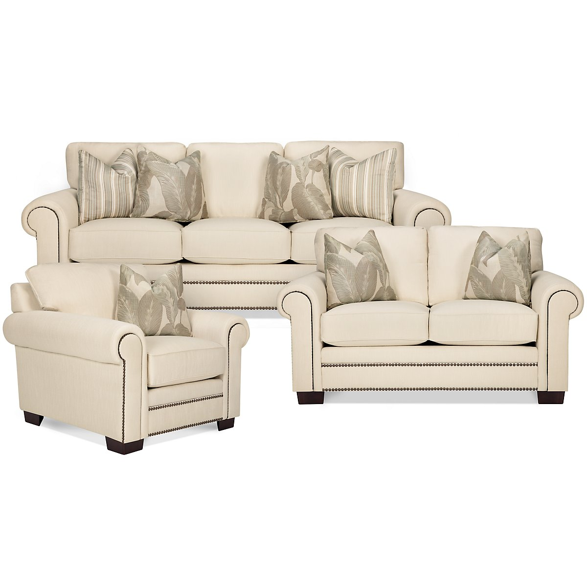 Erin White Fabric Living Room