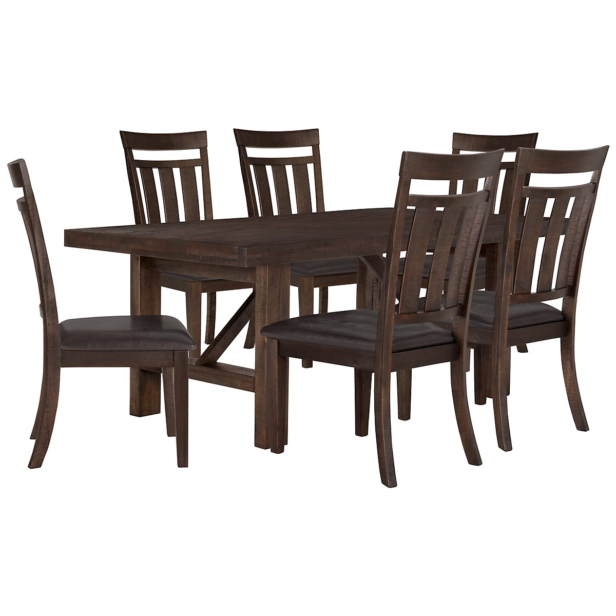 Kona Grove Dark Tone Wood Table & 4 Wood Chairs