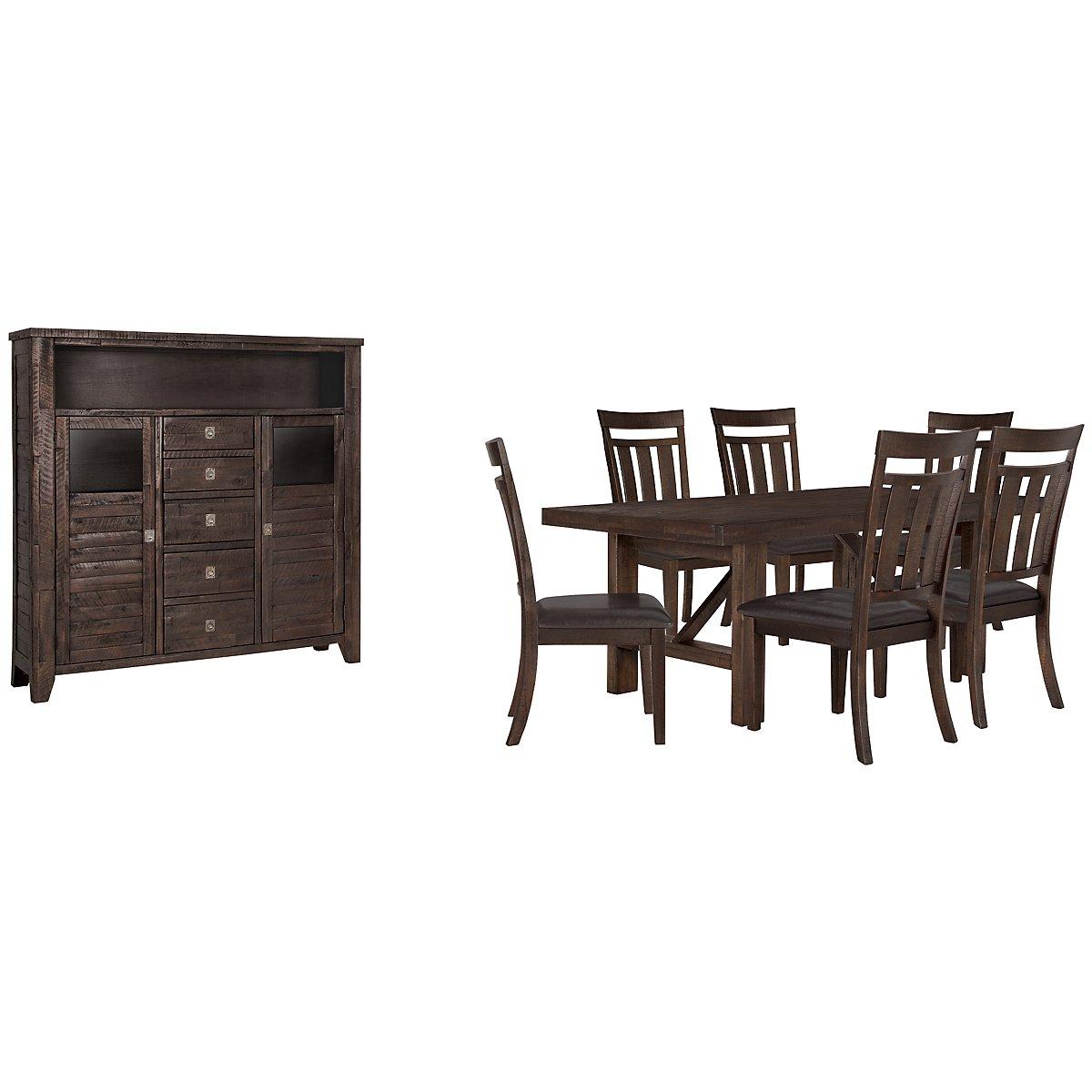 Kona Grove Dark Tone Wood Rect Large Dining Room