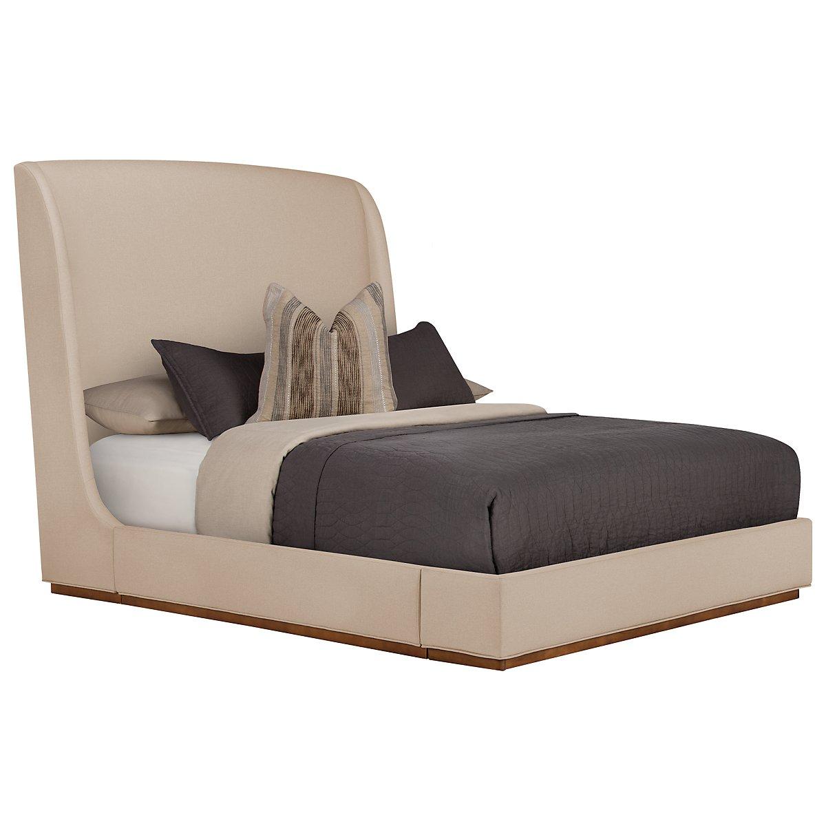 Triss Dark Taupe Upholstered Platform Bed