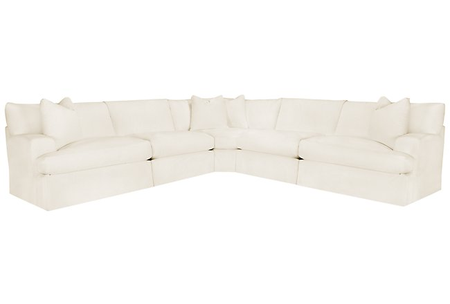 Delilah White Fabric Large Two-Arm Sectional