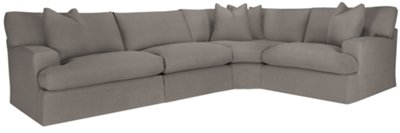 Delilah Gray Fabric Small Two Arm Sectional