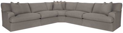 Delilah Gray Fabric Large Two Arm Sectional