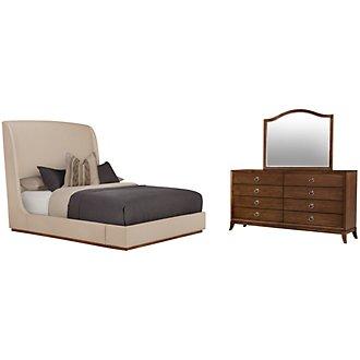 Triss Dark Taupe Upholstered Platform Bedroom