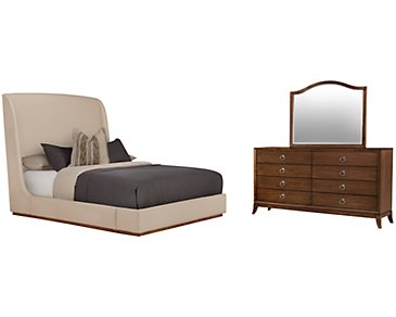 Triss Dark Taupe Upholstered Platform Bedroom
