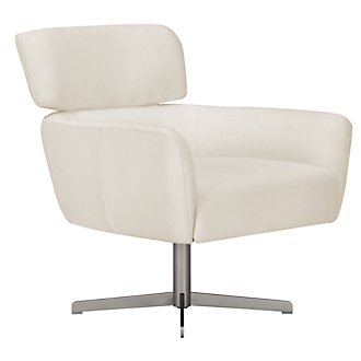 Wynn White Microfiber Swivel Accent Chair