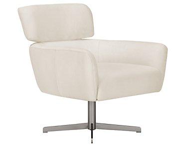 Wynn White Microfiber Swivel Accent Chair