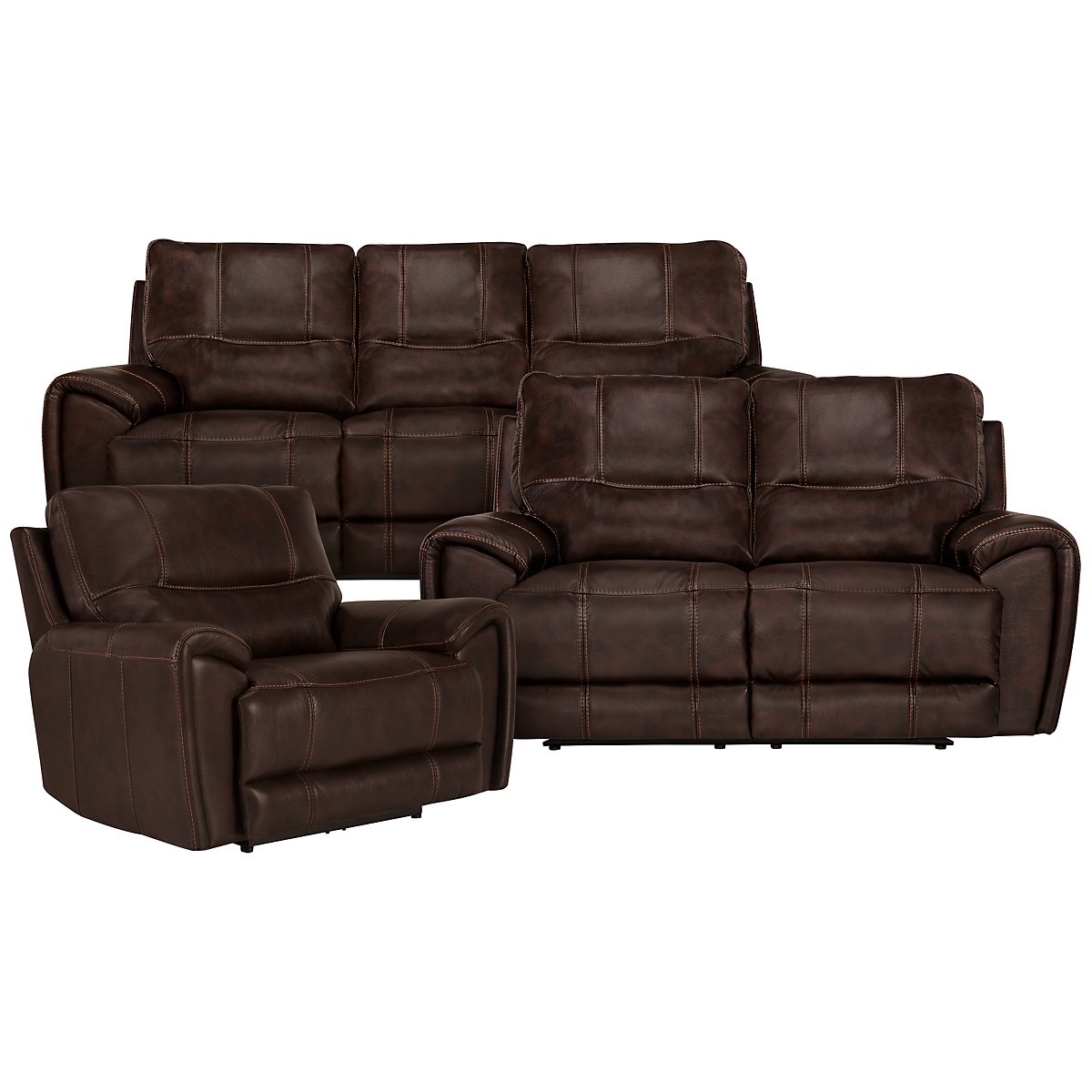 Nico Dark Brown Microfiber Power Reclining Living Room