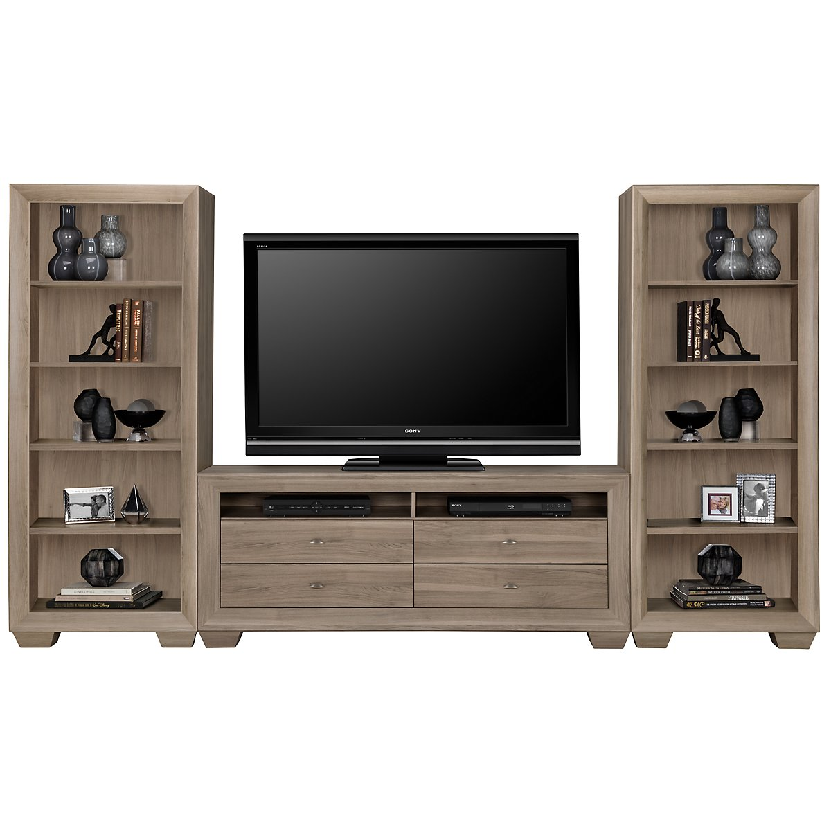 Adele2 Light Tone Wood Entertainment Wall
