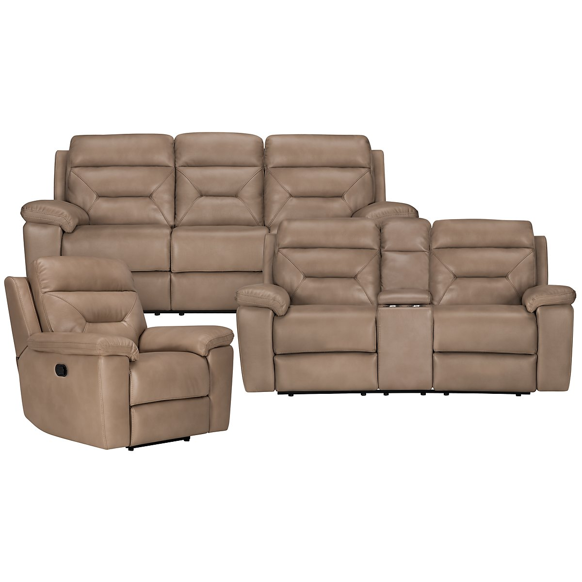 Phoenix Dark Beige Microfiber Manually Reclining Living Room