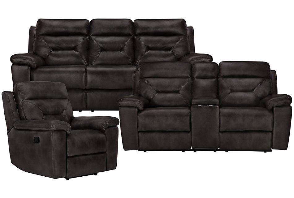 Phoenix Dark Gray MICRO Manually Reclining Living Room ...
