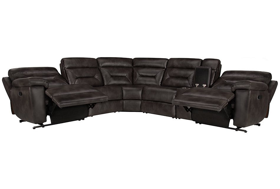 Phoenix Dark Gray  MICRO Small Two-Arm Manually Reclining Sectional