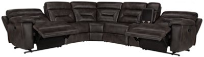 Phoenix Dark Gray Microfiber Small Two Arm Manually Reclining Sectional