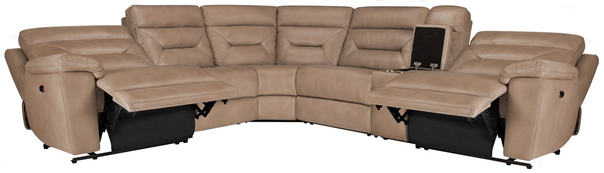 Phoenix Dark Beige Micro Small Two-Arm Power Reclining Sectional