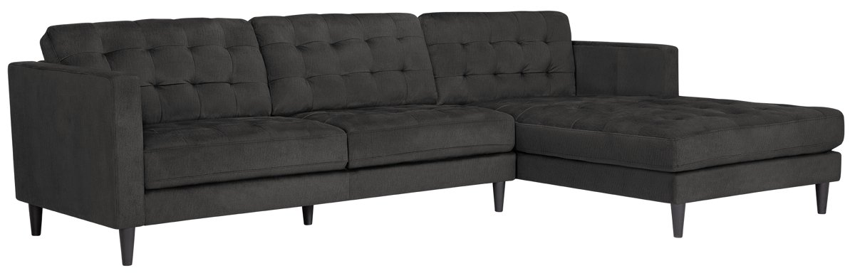 Shae Dark Gray Microfiber Right Chaise Sectional Living Room ~ One Arm Sofa With Chaise