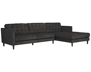Shae Dark Gray Microfiber Right Chaise Sectional