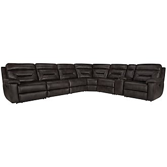 Phoenix Dark Gray Microfiber Large Two-Arm Manually Reclining Sectional