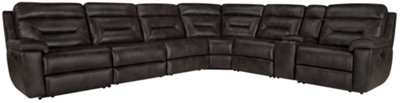 Phoenix Dark Gray Microfiber Large Two Arm Manually Reclining Sectional
