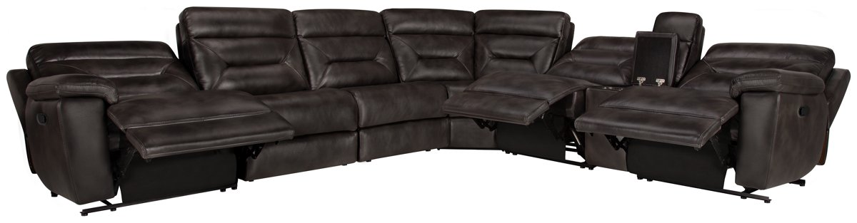 Phoenix Dark Gray Micro Large Two-Arm Manually Reclining Sectional