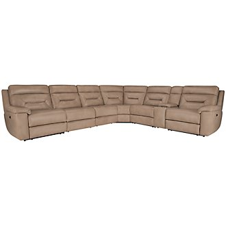 Phoenix Dark Beige Microfiber Large Two-Arm Power Reclining Sectional