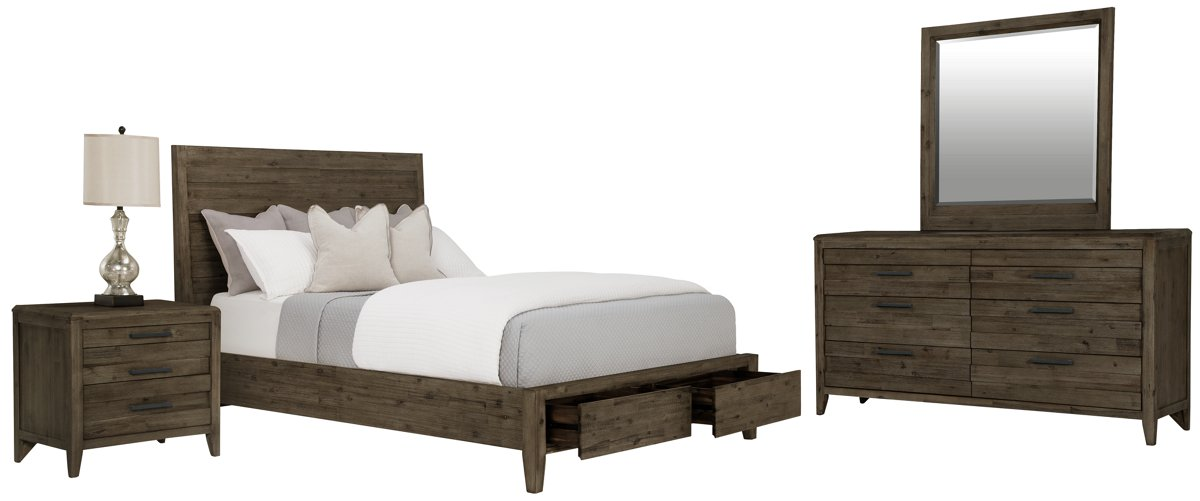 Casablanca Dark Tone Wood Panel Storage Bedroom