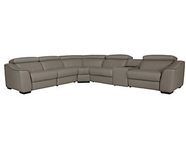 Alessi3 Dark Taupe Leather & Vinyl Small Two-Arm Power Reclining Sectional