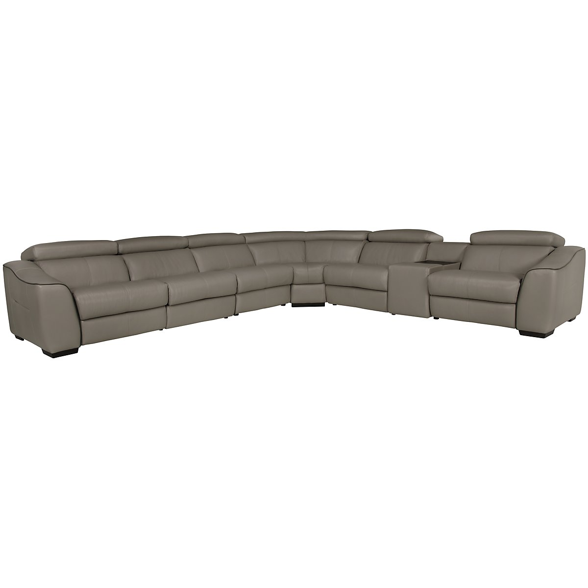 Alessi3 Dark Taupe Leather & Vinyl Large Two-Arm Power Reclining Sectional
