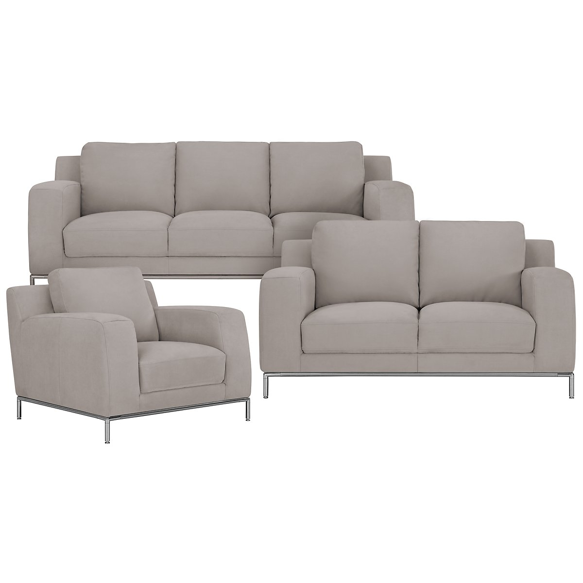 Wynn Light Gray Microfiber Living Room