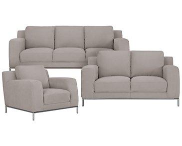 Wynn Light Gray Microfiber Living Room