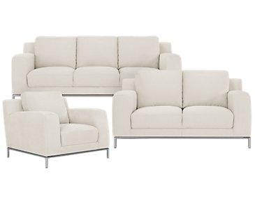 Wynn White Microfiber Living Room