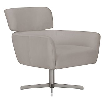 Wynn Light Gray Microfiber Swivel Accent Chair
