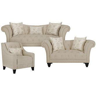 Hutton3 Light Taupe Linen Living Room