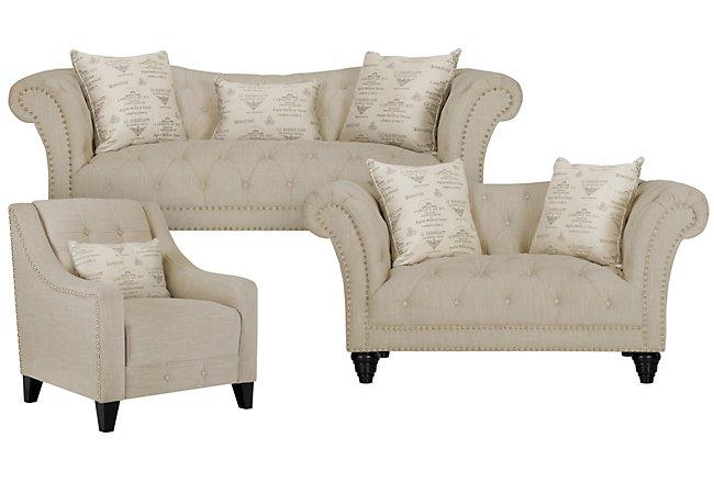 Hutton3 Light Taupe Linen Living Room