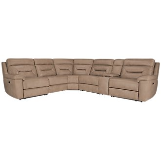 Phoenix Dark Beige Microfiber Small Triple Power Reclining Two-Arm Sectional