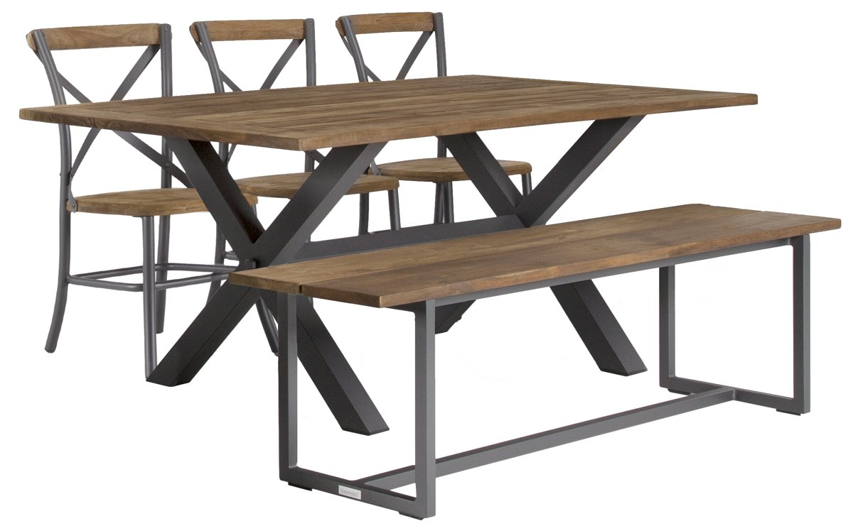 "Canyon Dark Tone 72"" Rectangular Table, 3 Chairs & Bench"