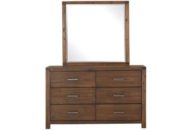Jake Dark Tone Wood Dresser & Mirror