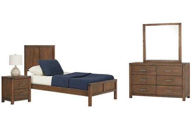 Jake Dark Tone Wood Panel Bedroom