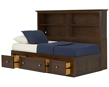 Spencer Mid Tone Storage Bookcase Daybed