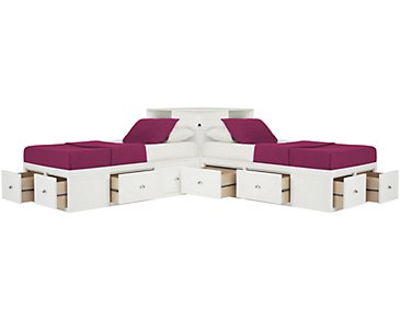 Spencer White Storage Corner Platform Storage Beds