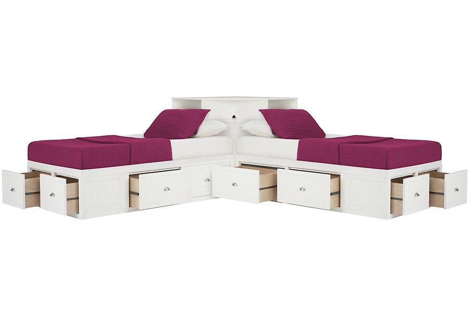 Spencer WHITE STORAGE Corner Platform Storage Beds