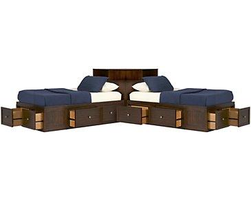 Spencer Mid Tone Corner Platform Storage Beds