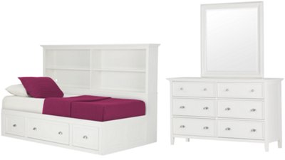 Spencer White Storage Bookcase Daybed Bedroom