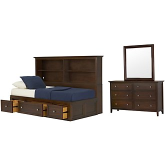 Spencer Mid Tone Storage Bookcase Daybed Bedroom